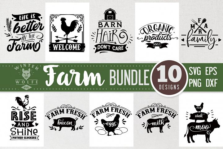 Farm Bundle 10 designs SVG EPS DXF PNG