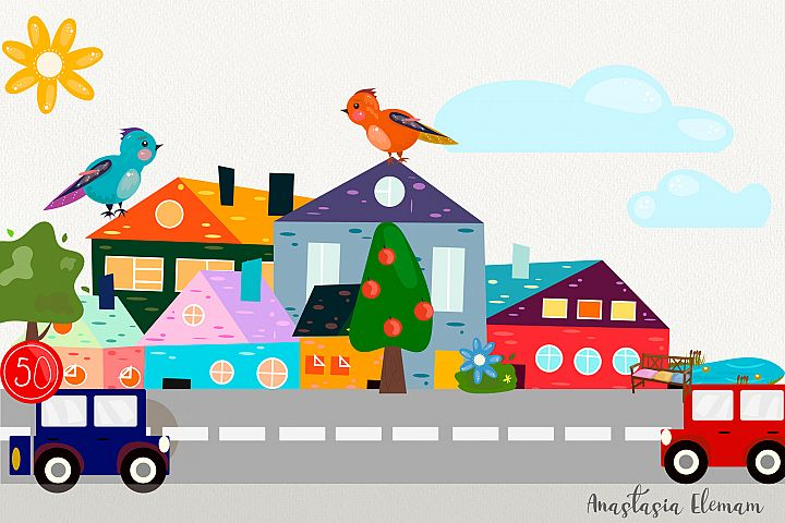 Town buildings with surrouding elements vector clipart set