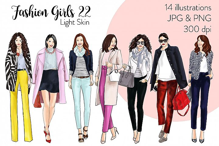 Fashion illustration clipart - Fashion Girls 22 - Light Skin