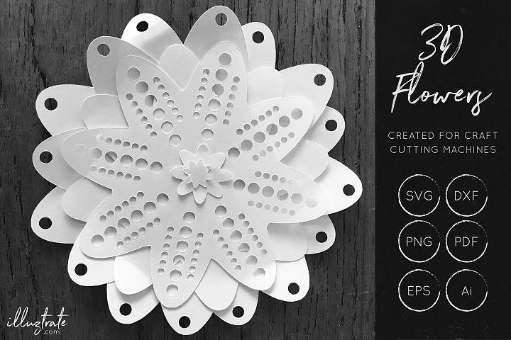3D Flower SVG Cut Files - Flower SVG - Layered Flower DXF - Free Design of The Week Design 1