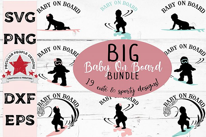 Big SVG Bundle Baby On Board Surfer Skateboarder Snowboarder