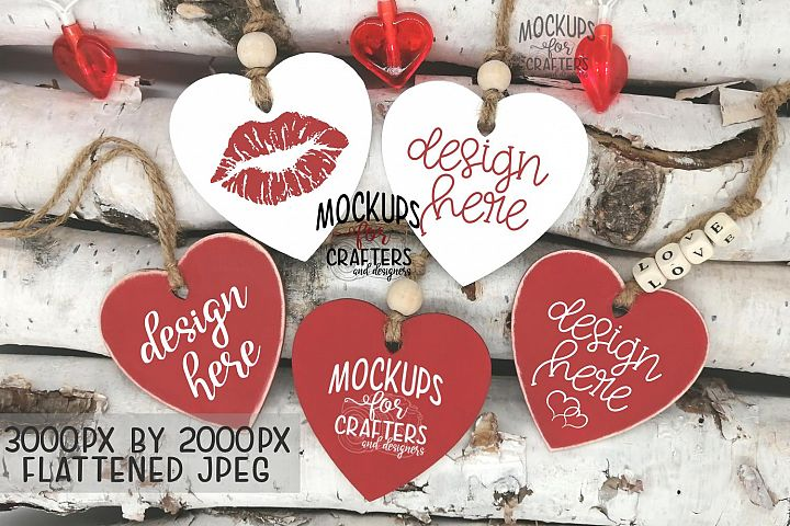 Wooden Heart-shaped Gift Tags, Valentines Day, Love, Mockup