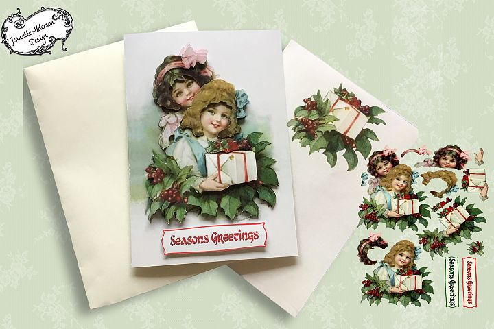 Two vintage girls Christmas Card