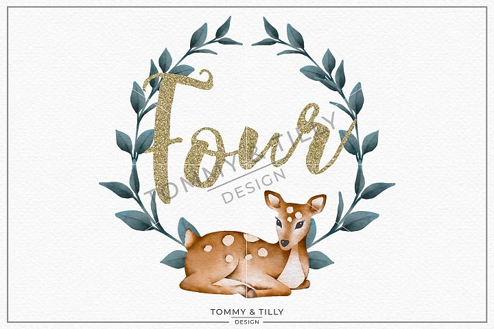 Four Birthday Deer Wreath - Sublimation PNG Clipart