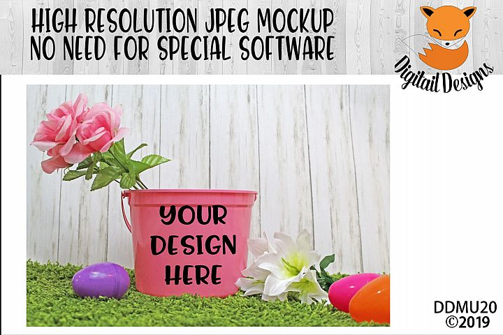 Pink Easter Bucket Mock Up Mockup