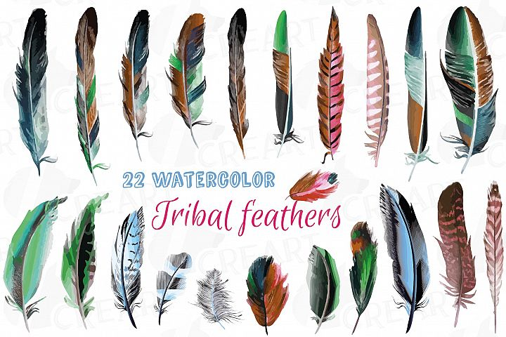 Watercolor tribal feathers clip art, colorful Boho feathers