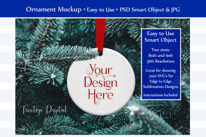 Christmas Ornament Mockup, PSD Smart Object & JPG