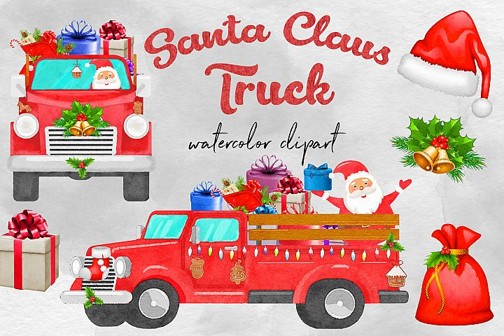 Watercolor Santa Claus Truck