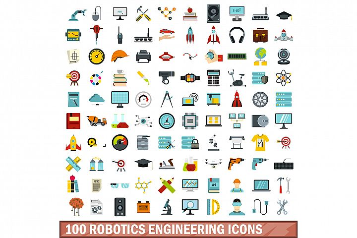 100 robotics engineering icons set, flat style