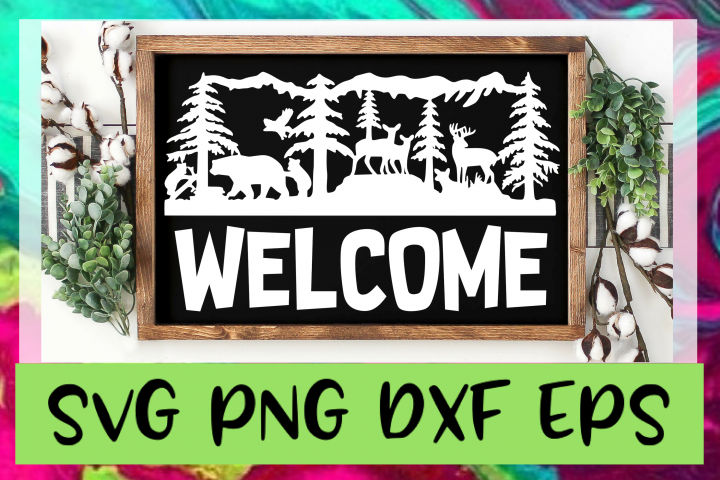 Outdoor Welcome Sign SVG PNG DXF & EPS Design Files