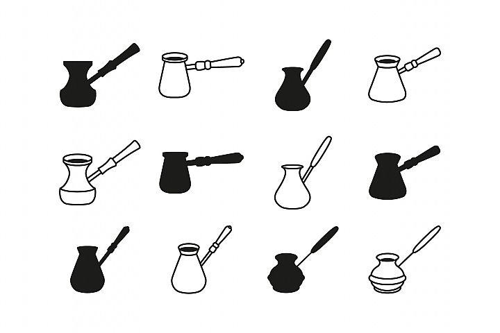 Coffee cezve icon set