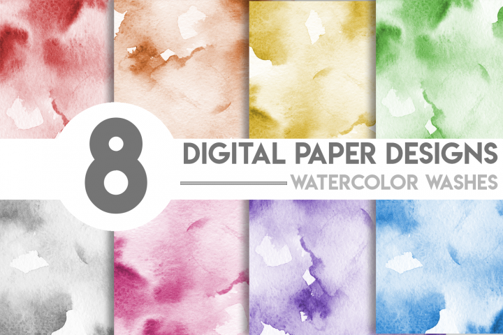 Watercolor Washes Digital Paper Bundle