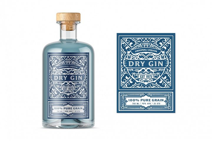 Vintage label with gin liquor design