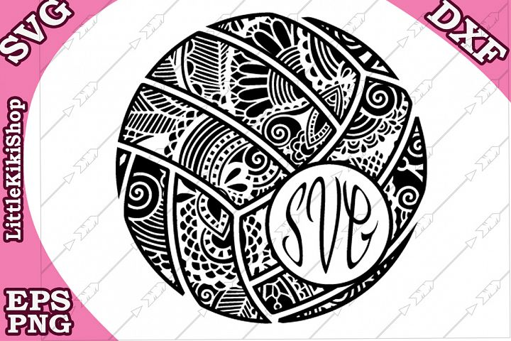 Volleyball Monogram Svg,Mandala Valleyball Svg,Zentangle Svg