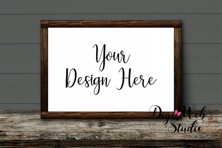 Wood Sign Mockup - Wood Frame on Distressed Rustic Shelf