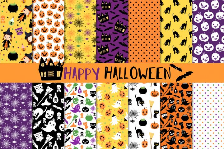 Cute Halloween digital paper set, Seamless background pattern printable