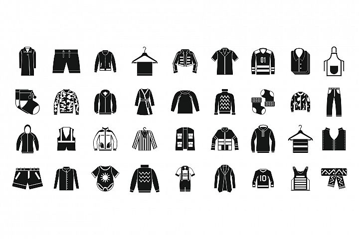 Clothes icon set, simple style