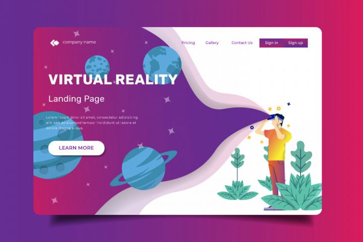 Virtual Reality - Landing Page Illustration Template