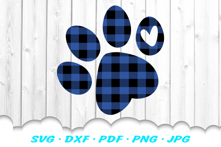 Christmas Buffalo Plaid Dog Paw SVG DXF Cut Files