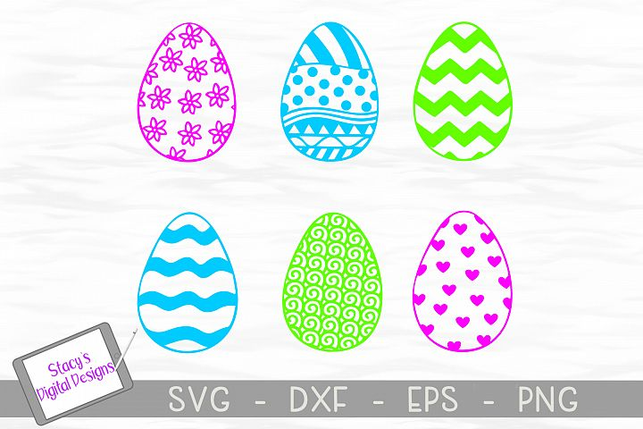 Easter SVG Bundle - Easter Egg Bundle with 6 Patterned Eggs
