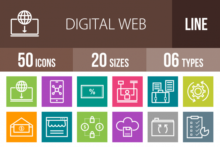 50 Digital Web Line Muticolor B/G Icons