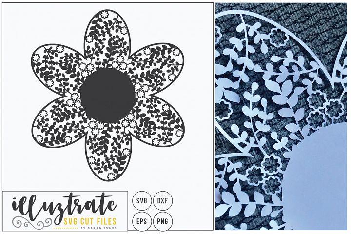 Blank Monogram Flower - Delicate Floral SVG Cut File