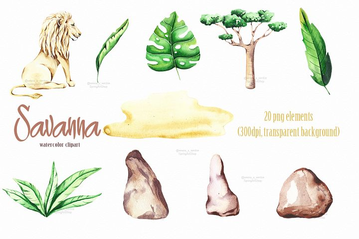 Savanna animal & Tropical clipart example 3