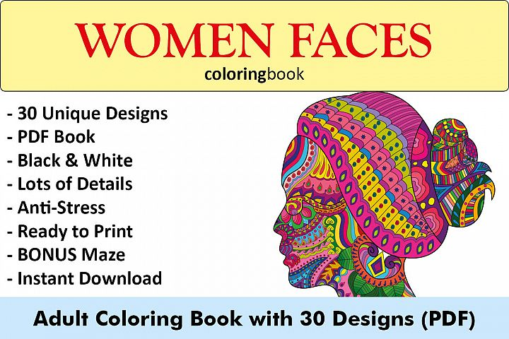 Women Faces Coloring Book - 30 Unique Illustrations
