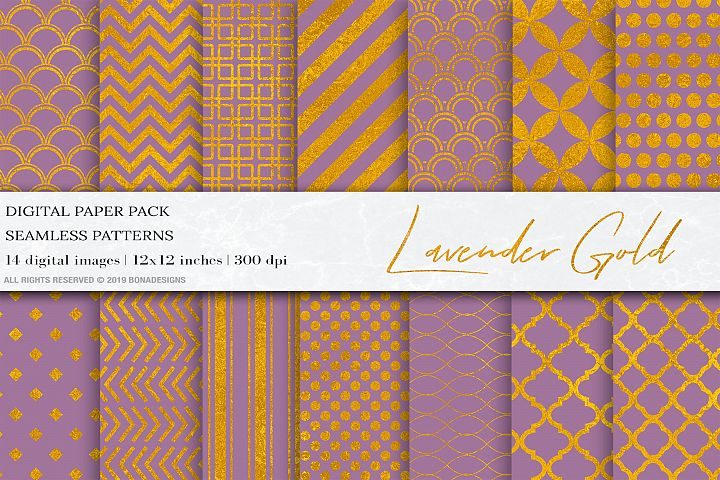 LavanderGold Geometric Digital Papers, Gold Seamless Pattern