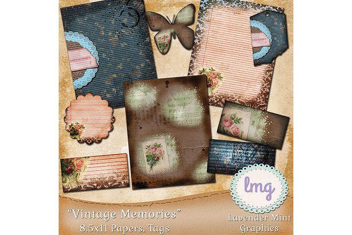 Vintage Memories Journal Kit-Digital Scrapbook Paper, Tags