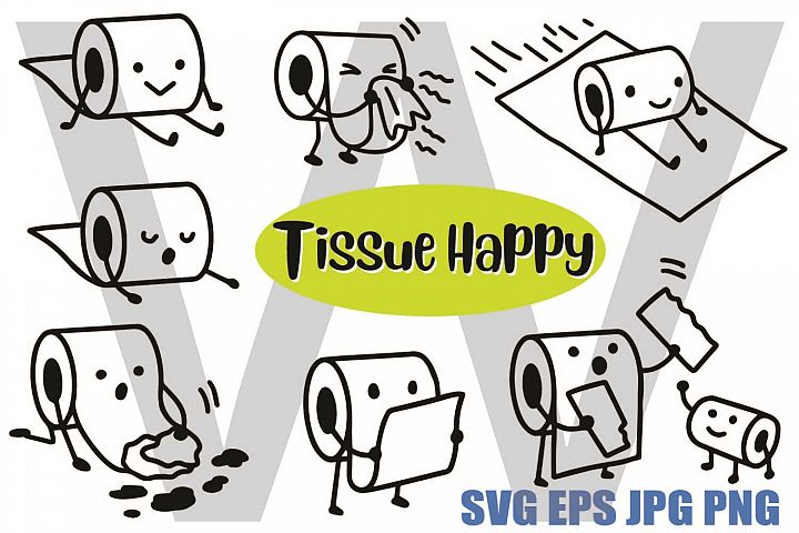 Cute Tissue in Various Actions - SVG/EPS/JPG/PNG