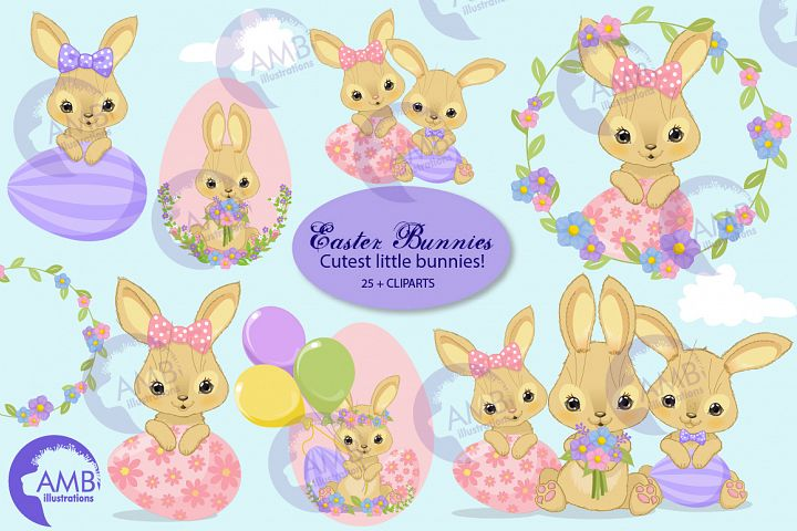 Bunny cliparts, rabbit cliparts, Easter cliparts