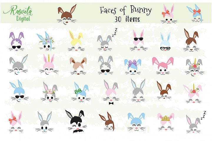 Happy Easter Bunny face Clipart brown, gray, blue, pink