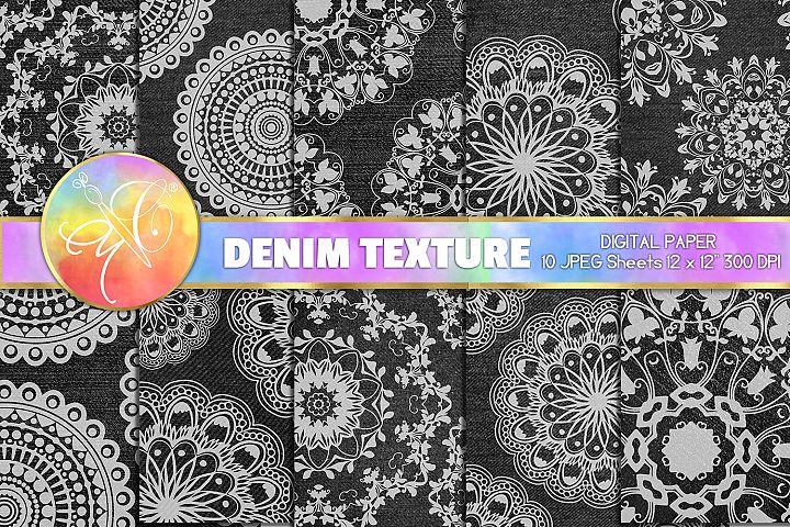 Black Denim and Mandala Digital Paper