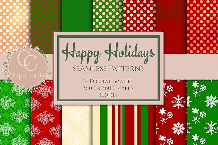 Happy christmas seamless patterns