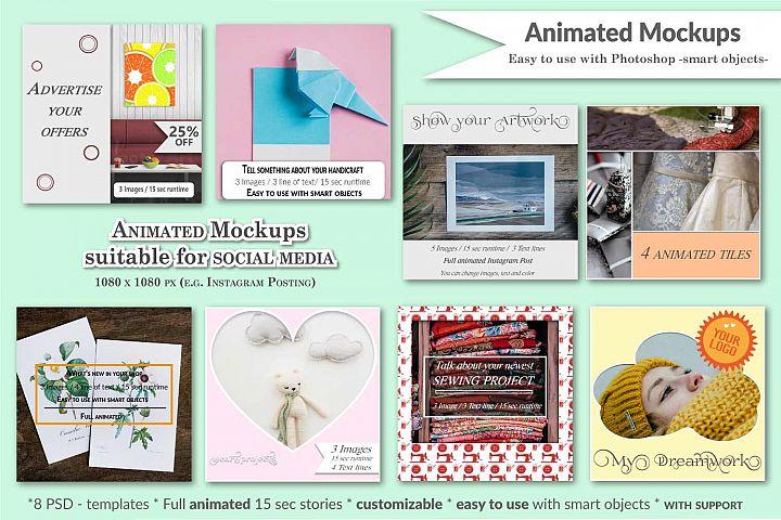 MOCKUP - Animated social media template - Handmade theme