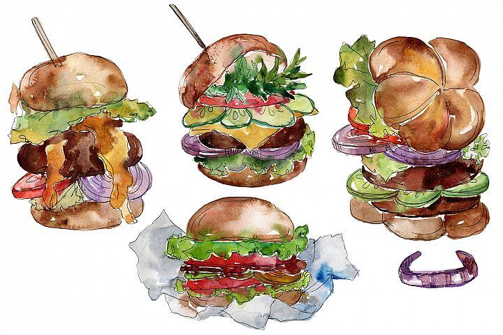 City Hamburger Watercolor png