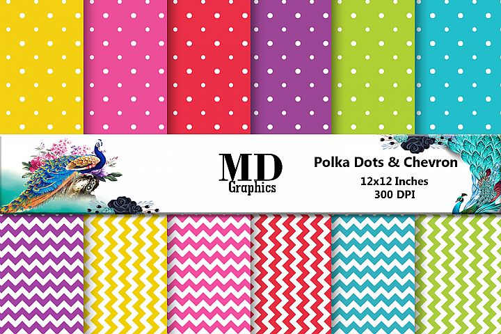 Polka Dot Scrapbooking Papers, Chevron Digital Papers