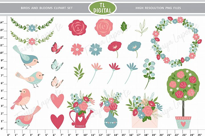 Birds and Bloom - Floral Love Clipart set - 29 Graphics