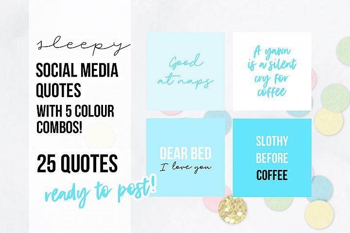 25 x Blue Turquoise Sleepy Social Media Quotes