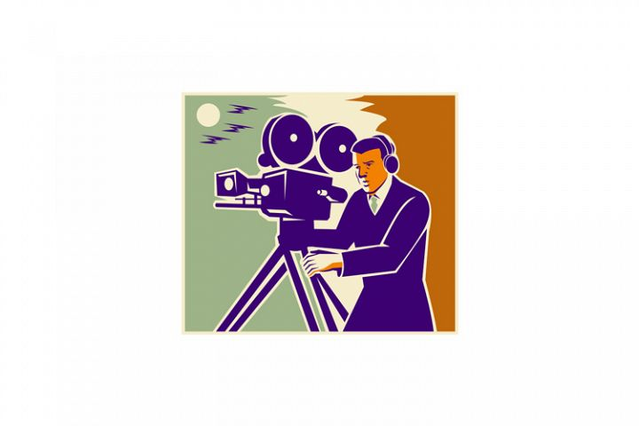 Cameraman Film Crew Vintage Video Movie Camera
