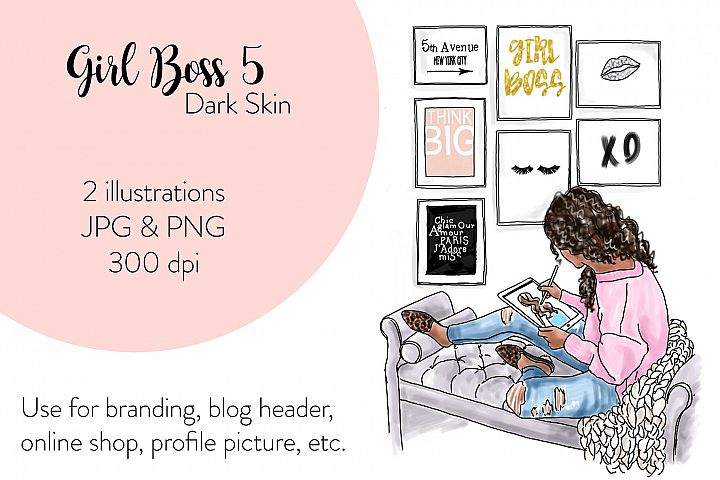 Fashion illustration - Girl Boss 5 - Dark Skin