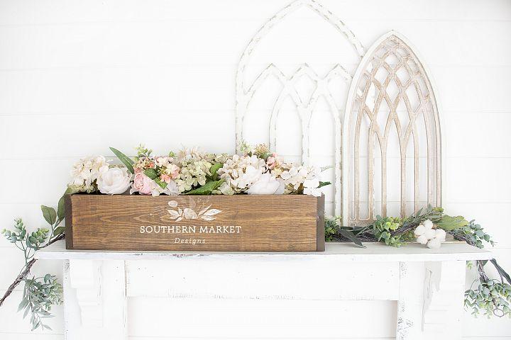Wood Floral Box Mock Up Farmhouse Styled Photo