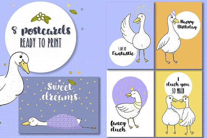 Funky duck postcards
