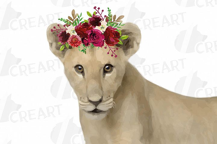 Baby lion with floral crown decoration printable clip art