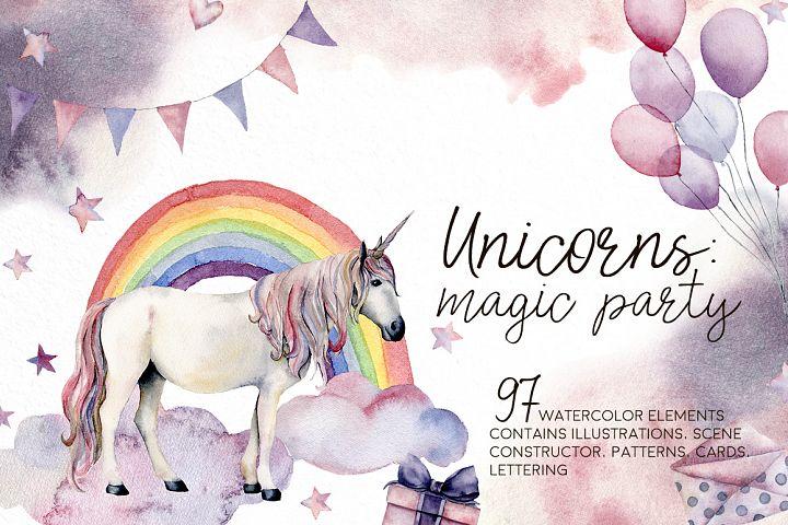 Unicorns magic party. Watercolor clip art