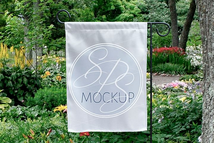White Garden Flag Mockup for Spring