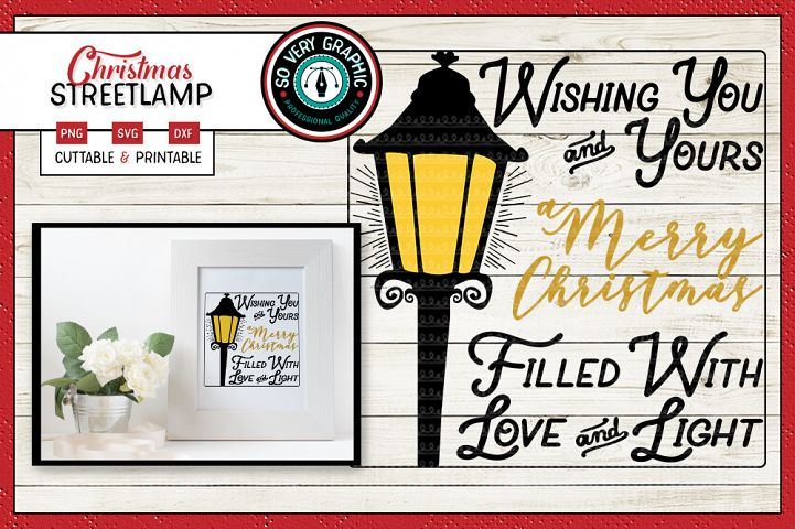 Farmhouse Christmas Streetlight Sign | SVG | PNG | DXF