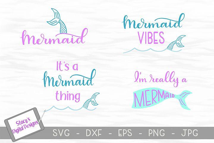 Mermaid SVG Bundle - 4 Mermaid SVG designs