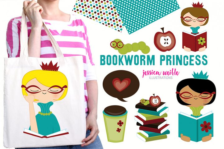 Bookworm Princess Clipart Graphics Collection